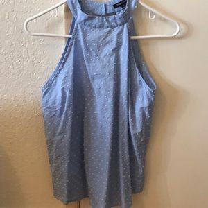 XS Pink Clover Blue/White Sleeveless Top